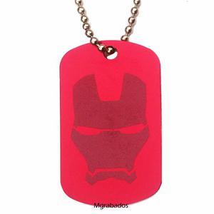 Placa Ironman Superheroes, Iron Man En Aluminio Con Cadena