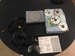 Play Station 2 + Play 1 Con 4 Controles Y 4 Juegos Originale
