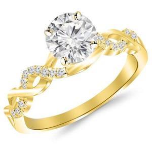 Anillo De Compromiso De Diamante Oro Amarillo De 14 Kilates