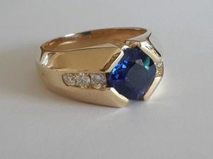 Anillo Hombre Zafiro Natural Y Diamantes En Oro 750