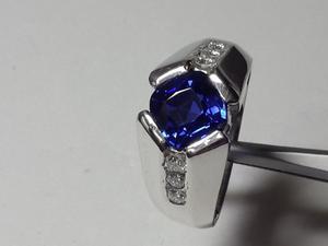 Anillo Hombre Zafiro Natural Y Diamantes En Oro Blanco 750
