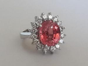 Anillo Lady Zafiro Padparadscha K7.56 Y Diamantes Aaa