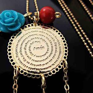 Collar Mujer Padre Nuestro Atrapasueños Swarovski Oro
