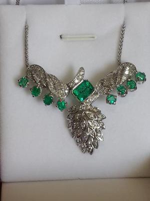 Collar (gargantilla) Esmeraldas Y Diamantes Oro 18k