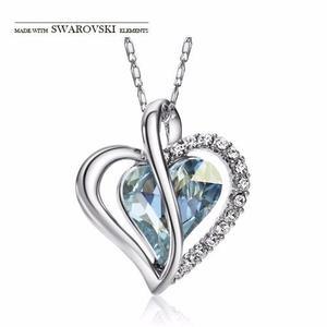 Hermoso Collar Corazón Sin Pendientes Elementos Swarovski