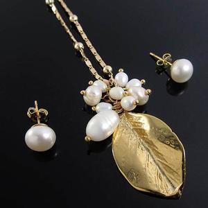 Juego Collar Aretes Mujer Perlas Cultivadas Cadena Oro Golfi