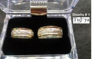 Pareja Argollas Matrimonio, Compromiso, Oro Plata, Las 2 X80