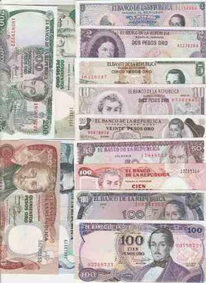 13 Billetes Antiguos Colombia Originales En Muy Buen Estado