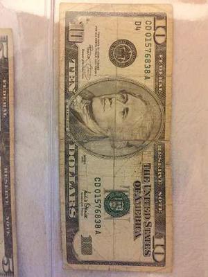 Billete De 10 Dólares Americanos Serie
