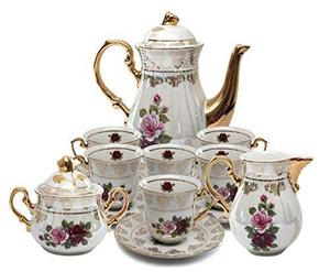 Porcelana Real 17pc Floral Juego De Té, 24k Gold-plated