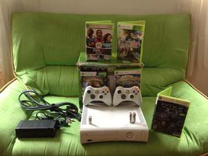 Consola Xbox 360 Placa Jasper + 5 Juegos Físicos+2controles