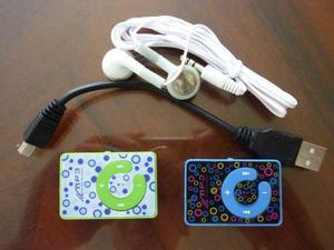 Reproductor Mp3 Tipo Clip Con Audifonos Y Cable Usb