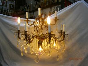 LAMPARA DE TECHO BRONCE 16 LUCES,LAGRIMAS EN CRISTAL MURANO