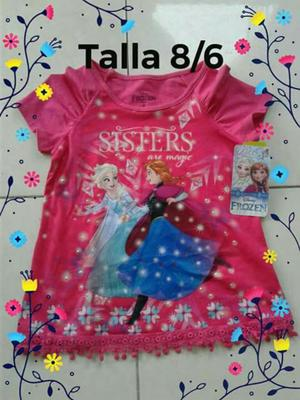 Blusa Fuscia de Frozen Talla 6 Y 8 Nueva
