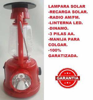 Lampara Linterna Radio Led Recargable Solar Dinamo Camping