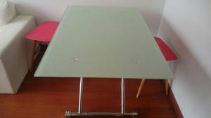 Comedor base metalica superficie en vidrio 42 posot class for Comedor 4 puestos vidrio