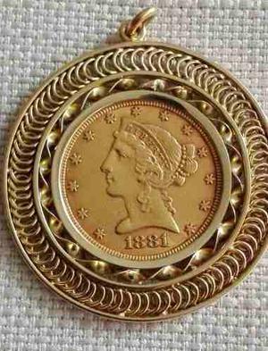 Moneda De Usd$5.00 En Oro De  Con Dije