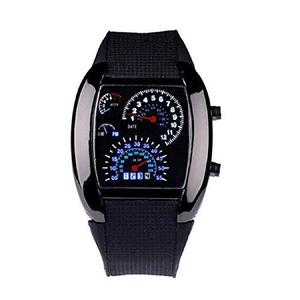 Malloom Mens Lujo Aviación Turbo Dial Flash Led Reloj