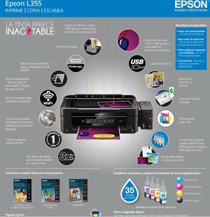 Epson L355 Tinta Inagotable, wifi, tanques de tinta