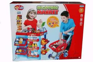 Supermercado De Juguete Con Carro Mercado Y Caja Registrador