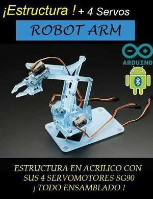 Brazo Robotico Acrílico Con Sus 4 Servomotores Ensamblado!