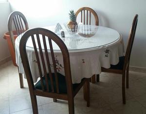 Comedor 4 puestos moderno madera vidrio posot class for Comedor 4 puestos