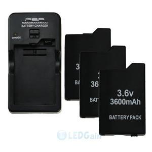 3pcs 3.6v mah Batería + Cargador De Pared Para Sony Psp