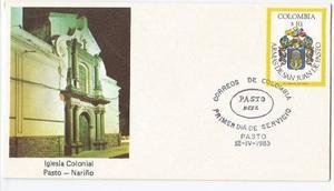 Sobre Primer Dia Estampillas Heraldica San Juan Pasto