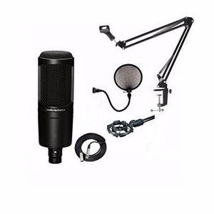 Combo Microfono Condensador At Audiotechnica Base Tijera