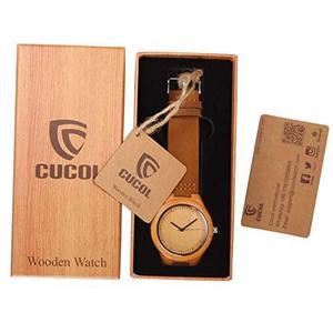Cucol® Mens De Bambú De Madera Relojes Del Cuero Genuino