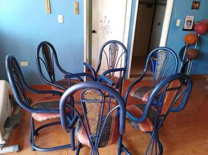 Mesa y 6 sillas comedor vidrio mm base marmol posot class for Comedor de vidrio con 6 sillas