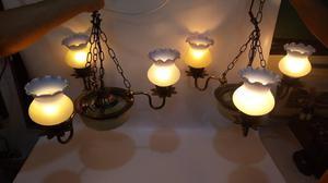 LAMPARA TECHO ANTIGUA BRONCE Y CRISTAL 3 LUCES