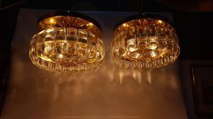 LAMPARA TECHO ANTIGUA ITALIANA BRONCE ACRILICO