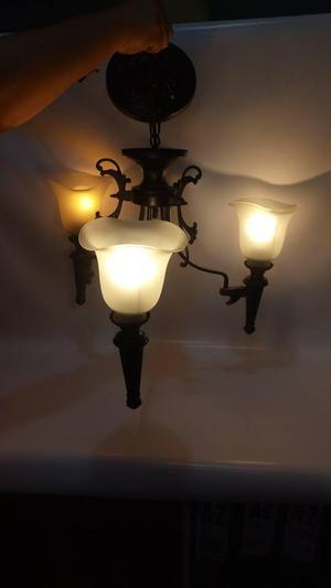 LAMPARA TECHO ANTIGUA ITALIANA LAMINA DE BRONCE Y CRISTAL