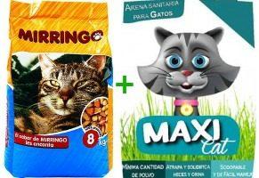 Alimento Para Gatos Mirringo 8 Kg + Arena Maxicat 4.5 Kg