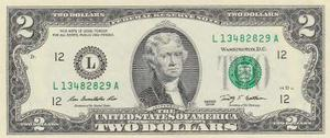 Billete De Estados Unidos De 2 Dolares Año