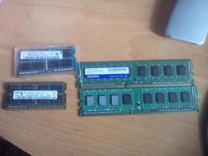 Memorias ram para portátil y pc de 2 y 4Gb DDR3.