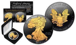 Moneda Black Ruthenium Americana 1 Onza De Plata.999 Y Oro