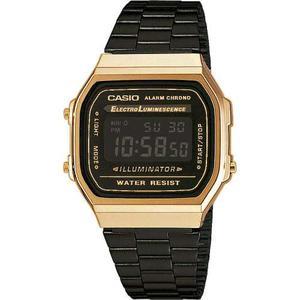 Reloj Casio Retro A168wegb-1b Unisex Negro Y Dorado Original