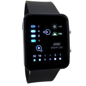 Reloj Digital Unisex Binario Negro