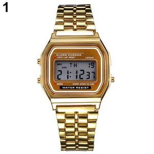 Reloj Led Digital Dorado De Acero Inoxidable La Vendimia