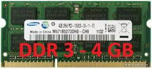 VENDO MEMORIA RAM DDR3 DE 4GB PARA PORTATIL
