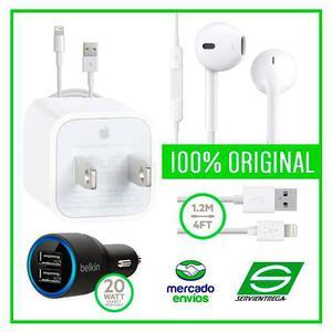 Cargador Iphone 5 6 7 Apple + Carro + 2 Cables + Audifonos