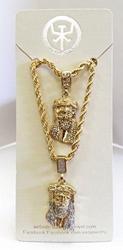 Collar Exo Jewel Rostro De Jesús Doble Capa Abado En Oro