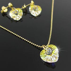 Collares Mujer Cadena Y Aretes Corazon Swarovski Oro Goldfi