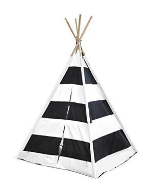 Heritage Kids Play Tent Con Rayas, Negro / Blanco