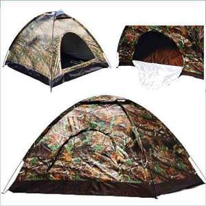 Carpa Camping Camuflada 2x2x1.35 Para 4 Personas Impermeable