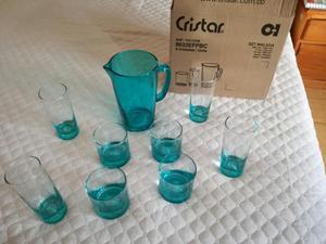Set 8 vasos grandes y jarra en cristal grueso posot class - Vasos grandes cristal ...