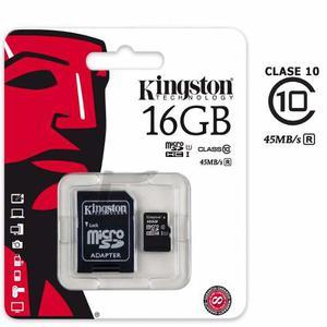 Memoria Micro Sd Kingston 16 Gb Clase 10 + Adaptador