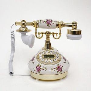 Flor Blanca Teléfono Antiguo Cerámica Vintage Retro Botón